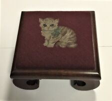 New listing Antique Wooden Square Footstool Maroon Kitty Needlepoint Ivey's Charlotte, Nc