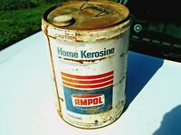 A Vintage Imperial 1960/70's AMPOL White 5 Gallon Home Kerosene Oil Tin Drum