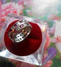 Superbe bague anneau ancienne Art Deco vintage argent rubis brillants