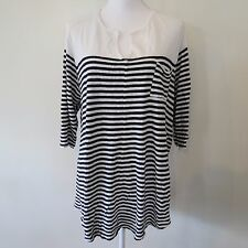 Women's Lucky Brand Black White Striped Tunic Shirt Top Pocket Sz XXL 2XL Linen
