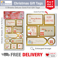 Gold Foil Christmas Gift Tag Stickers 55 Pieces - 1706
