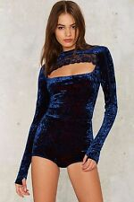 nasty gal Hot as Hell Hole in 1 Cut-Out Bodysuit SMALL blue
