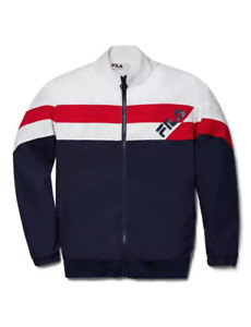 FILA Track Jacket Mens Small Authentic Fitted Full Zip Lightweight ColorBlock