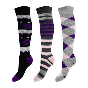 Ladies 1 Pair Cushioned Long Welly Wellington Boot Socks UK 4-8 EU 37-42 - MULTI