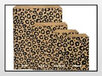 Black LEOPARD Print Flat Paper Merchandise Bags Choose Size & Package Amount