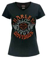 Harley-Davidson Women's Radiant Prowess Short Sleeve Tee, Black & Gray Ombre