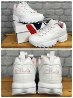 FILA LADIES DISRUPTOR II WHITE PINK CHUNKY TRAINERS VARIOUS SIZES CHILDREN YOUTH