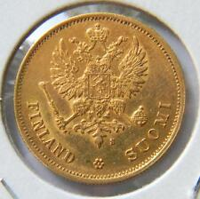 FINLAND under Russia, Alexander II: 1878-S gold 10 MARKKAA, 1st yr of issue; AU