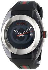 New Gucci Sync XL Swiss Black Striped Rubber Strap Unisex Watch YA137101