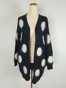 Billions $ Trillions Black White Spotted Coat Jacket Cardigan Cow Size L