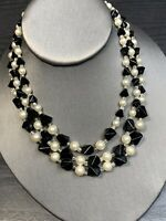 Vintage 1950S White Pearl Black Glass Beaded 3 Strand  Necklace Marked Japan 16""