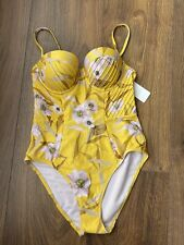 New Ted Baker Balconette Yellow Floral One Piece Swimsuit Swimwear Size 2 UK 10