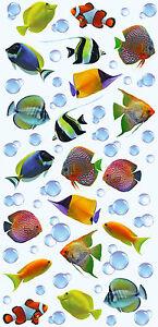 Sticker Aufkleber Fliesen Fische Wasserblasen Deko Dekoration 3D-Optik