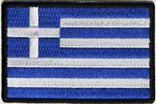 "(B16) GREEK FLAG 3"" x 2"" iron on patch (5188) Biker Greece"