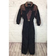 Vintage Edelweiss One Piece Ski Suit Womans 12 Black Snowsuit Jumpsuit 80's 90's