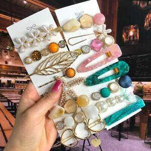 Hair Clips Set Pearl Crystal Acrylic Geometric Barrettes Hairpin Accessories