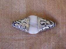 Tibetan-Style Natural Drilled Bead Carved Silver Caps Conch Shell Floral Motif