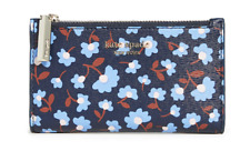 Kate Spade Women's Spencer Party Floral Small Slim Bifold Blue ID Wallet