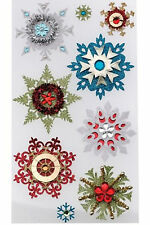 Embellished Snowflakes Glitter Metalic Gems Christmas Winter Jolee's 3D Stickers