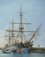 "HMS Warrior Portsmouth Royal Navy Painting Art Print - 14"" Image"