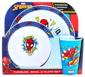 Marvel Spider-Man 3-Piece Dinner Set | Tumbler, Bowl and Plate | Tableware
