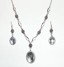 VICTORIAN STYLE CLEAR ACRYLIC CRYSTAL SILVER PLATED ROSE NECKLACE EARRING SET RS