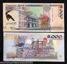 SURINAME 5000 GULDEN P143 1997 BIRD UNC WORLD CURRENCY PAPER MONEY BILL BANKNOTE