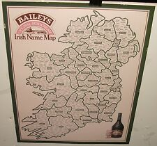 BAILEYS ORIGINAL IRISH CREAM NAMES MAP 1977 COLOR POSTER