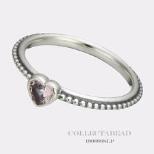 Authentic Pandora Silver Pink Synthetic Sapphire Heart Ring Size 56 190896SLP