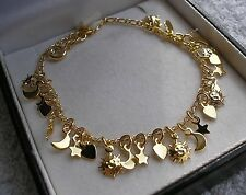 GENUINE STAMPED 18CT CHARM BRACELET 25 CHARMS SILLY PRICE GF 9ct gold bling {17}