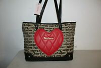 NWT JUICY COUTURE HEART BREAKER TOTE SHOULDER BAG PURSE BEIGE BLACK GOTHIC
