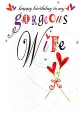 Gorgeous Wife Happy Birthday Card Glitter Flittered Greeting Cards