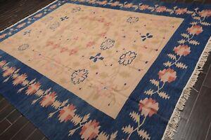 "9'7"" x 12'2"" Hand Woven Turkish Kilim Wool Traditional Oriental Area Rug Tan"