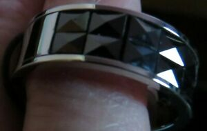 Band Ring, Stainless Steel, Color Steel, Stone Crystal,  Black, Size 10.25