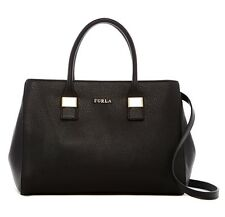 $468 NWT Furla Amelia Medium Leather Italy Tote Bag ONYX BLACK