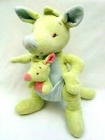 Bright Start Lime Green Kangaroo With Joey Soft Plush Stuffed Animal Toy 28cm
