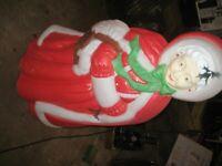 "Vintage Santa's Best Mrs Santa Claus Christmas Blow mold 40"" Light Up Yard Decor"