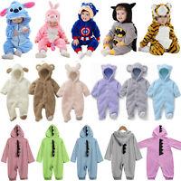 Toddler Kids Boys Girl Cartoon Romper Hooded Cosplay Pajamas Nightwear Sleepwear