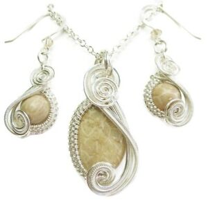 Fossilized Coral & Swarovski Crystal Wire-Wrapped Earring/Necklace Sterling Slv