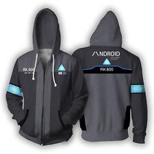 Detroit Become Human Hoodie Full-Zip Hooded Sweatshirt Unisex Casual Jacket Coat