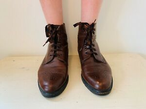 Ladies, 100% Leather Brogue Lace Up, Ankle Boots Brown, Size: 38