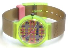 Coke Vintage Swiss Coca-Cola Watch Pink Gray Abstract Dial Green Band 80's NOS