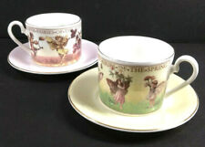 Flower Fairies Cicely Mary Barker Saucer Cup 1 Spring & 1 Autumn Vintage 1997