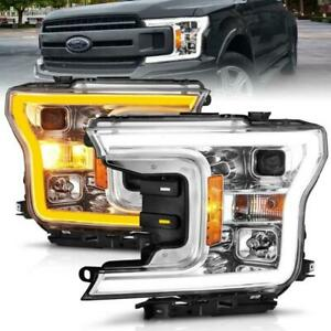 ANZO 2018-2020 Ford F-150 Projector Headlight w/Plank Style Switchback Chrome Ho