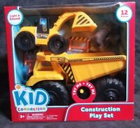 Construction Play Set with Dump Truck Bulldozer Kids Connection Lights & Sounds