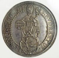1694, Salzburg, Johann Ernst von Thun. Large Silver Thaler Coin. NGC AU-58!