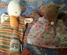 """Lot de 2 marionnettes Moulin Roty  """" Canard et Taupe """" La grande famille"""