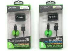 2 Cellet Micro USB Cable and Holder Wall 4ft Home Phone Charger Accessory 1 Amp