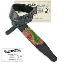 Walker & Williams CVG-161 Black Leather PaddedGuitar Strap w/Tooled Green Koi