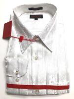 Mens Leonardi  Cuff Dressy very stylish Shirt Edition WHITE SMALL paisely 034